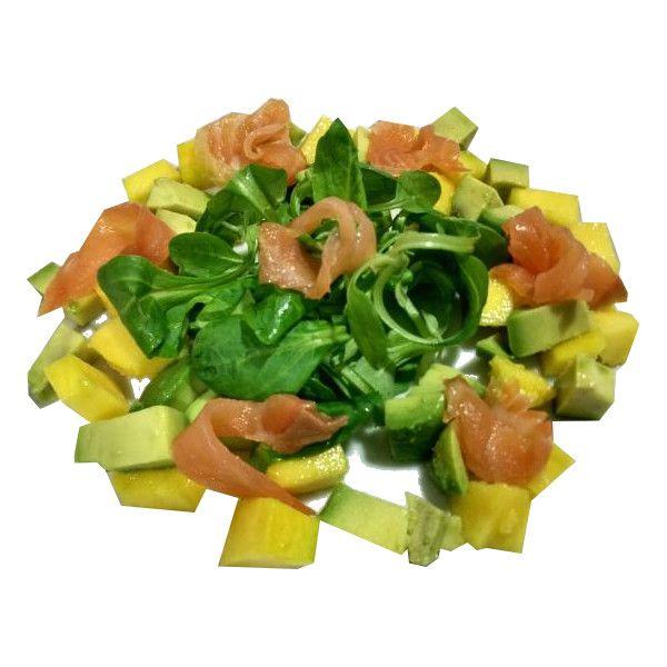 Ensalada de salmon y mango